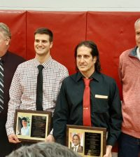 Andrew Grillo (second from left) and John Grillo (third from left) were inducted into the Holley Hall of Fame. Photo by Warren Kozireski
