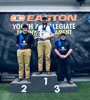 Alfred State archer Jacob Patanella, center, took first place in the men's hunter category at the Lancaster Classic in Lancaster, Pennsylvania.