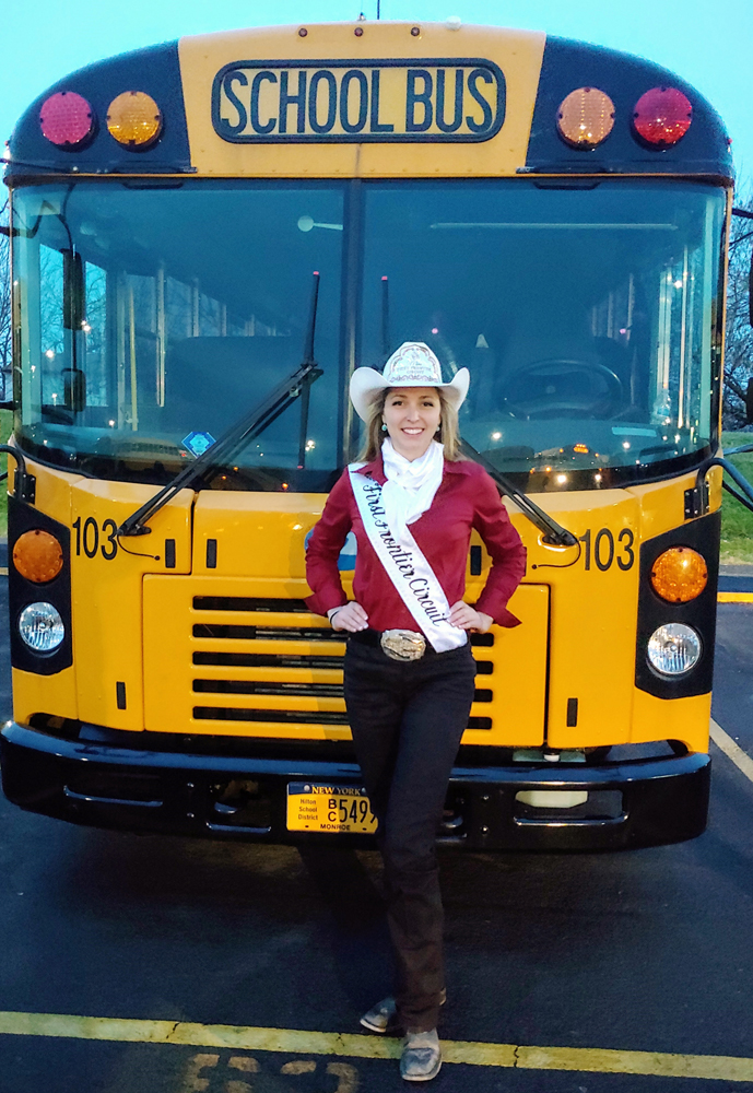 Rebecca Gates presented her students with the Bus of the Month Award after being named Miss First Frontier Circuit 2020.