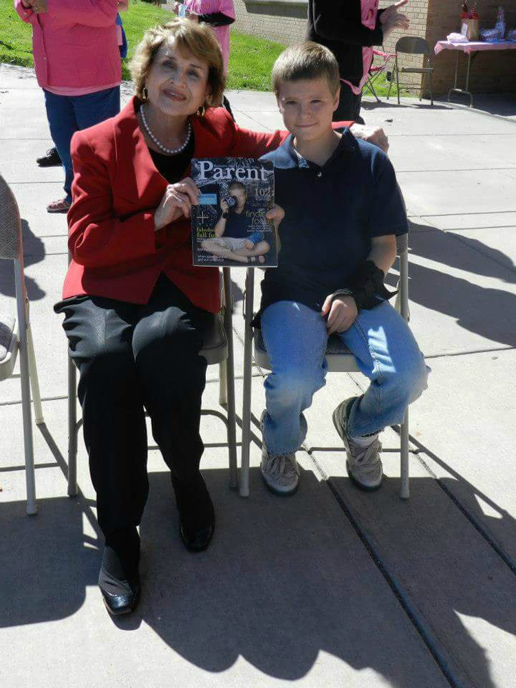 Sam with Congresswoman Louise Slaughter in 2012, the year Sam appeared on the cover of Parent magazine.