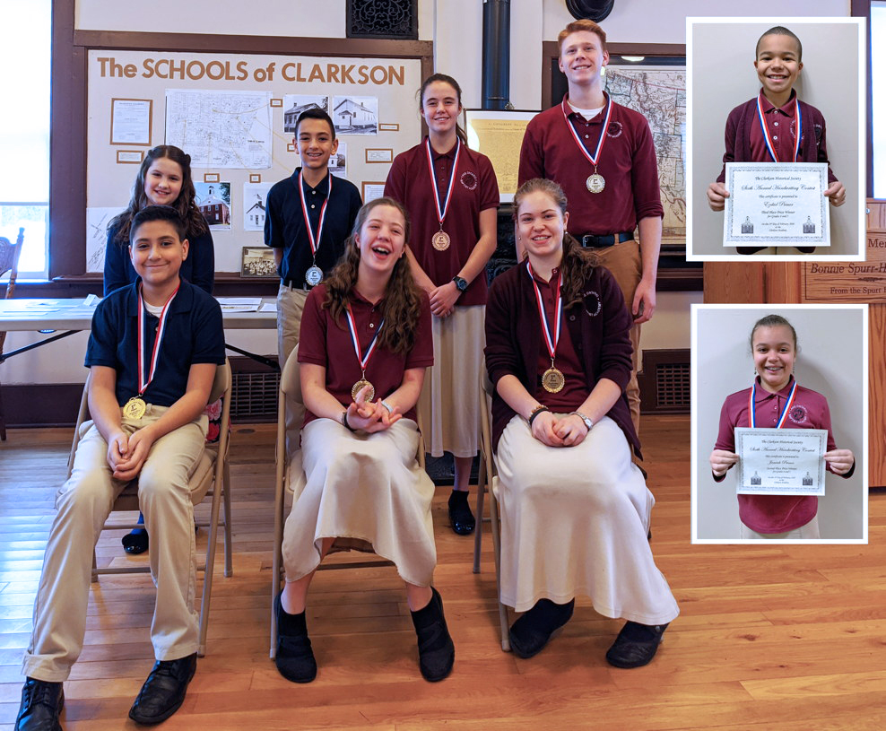 Winners of the sixth annual Clarkson Historical Society Handwriting Contest are: seated, Jacob Martinez, Audrey Buck, Leah Buck; standing, Candace Harris, Andrew Martinez, Charity Huber, Chester Jabinski; and inset, Ezekiel Primer (top), and Jemiah Primer. Provided photo