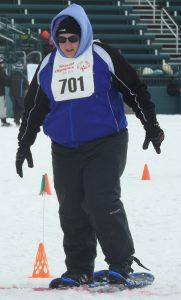 Kerri Patrick Snowshoeing in the 50M Preliminary.