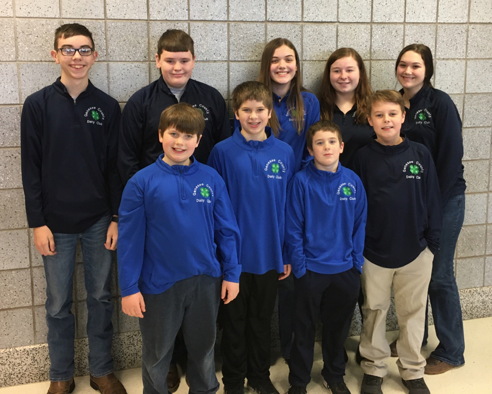 Genesee County 4-H Dairy Bowl Participants, (back row, l-r) Ian Keberle, Mason Werth, Jillian Brewer, Maggie Winspear, Amelia Brewer; (front row, l-r) Chase Zuber, Bing Zuber, Tate Zuber, and Justin Deleo.