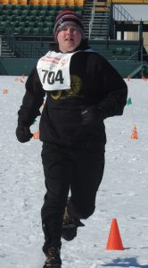 Jacob Booher-Babcock in the Snowshoeing 200M preliminary race.