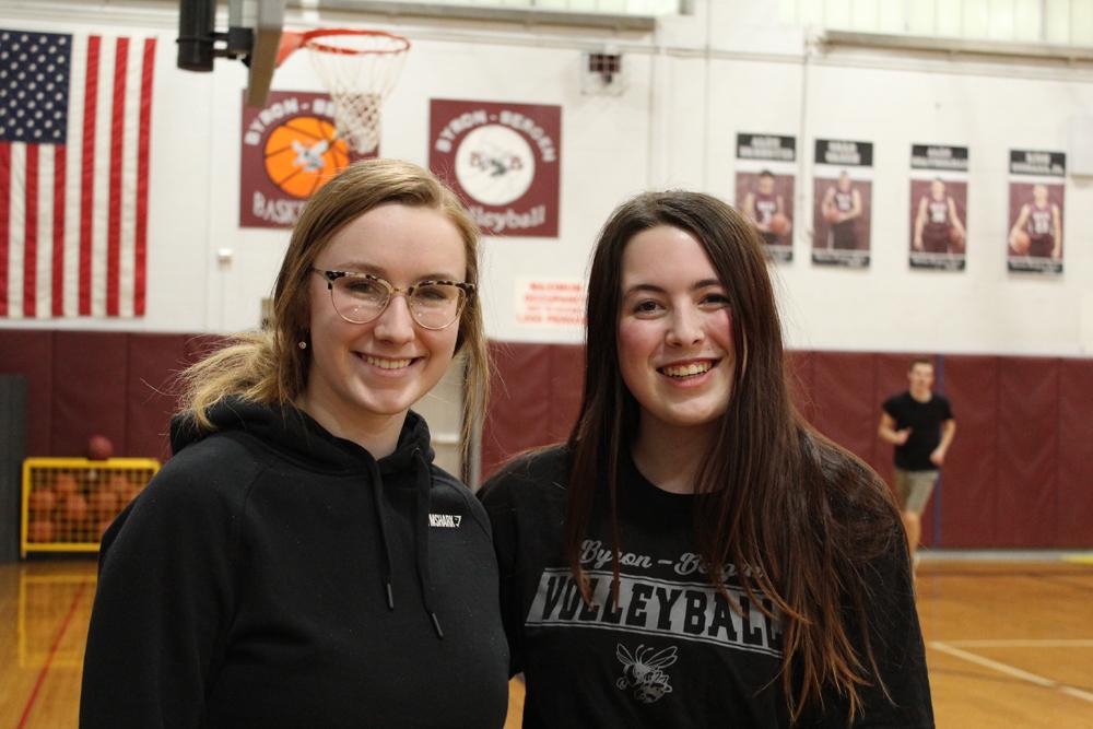 Auburn Schwartzmeyer (left) and Abby Vurraro (right) organized the event. Photo by Gretchen Spittler.